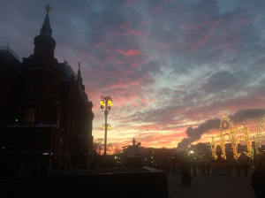 Photo of a cool sunset by Red Square to distract from a ramble about the archives.
